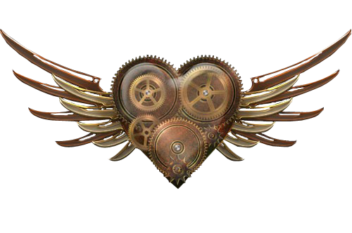 Coeur Steampunk coeur ailé steampunk